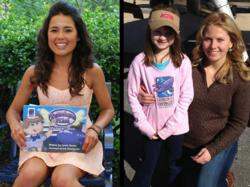 (Left) Ariel Tweto with the Penelope Pilot book; (Right) Sarah Fraher with a young fan. Photo Courtesy Girls With Wings